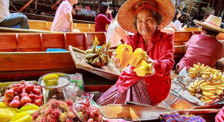 fruit drijvende markt damnoen saduak